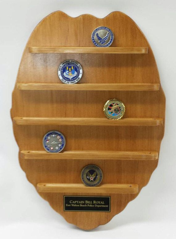 Wall Hanging Police Badge Challenge Coin Holder - Wood