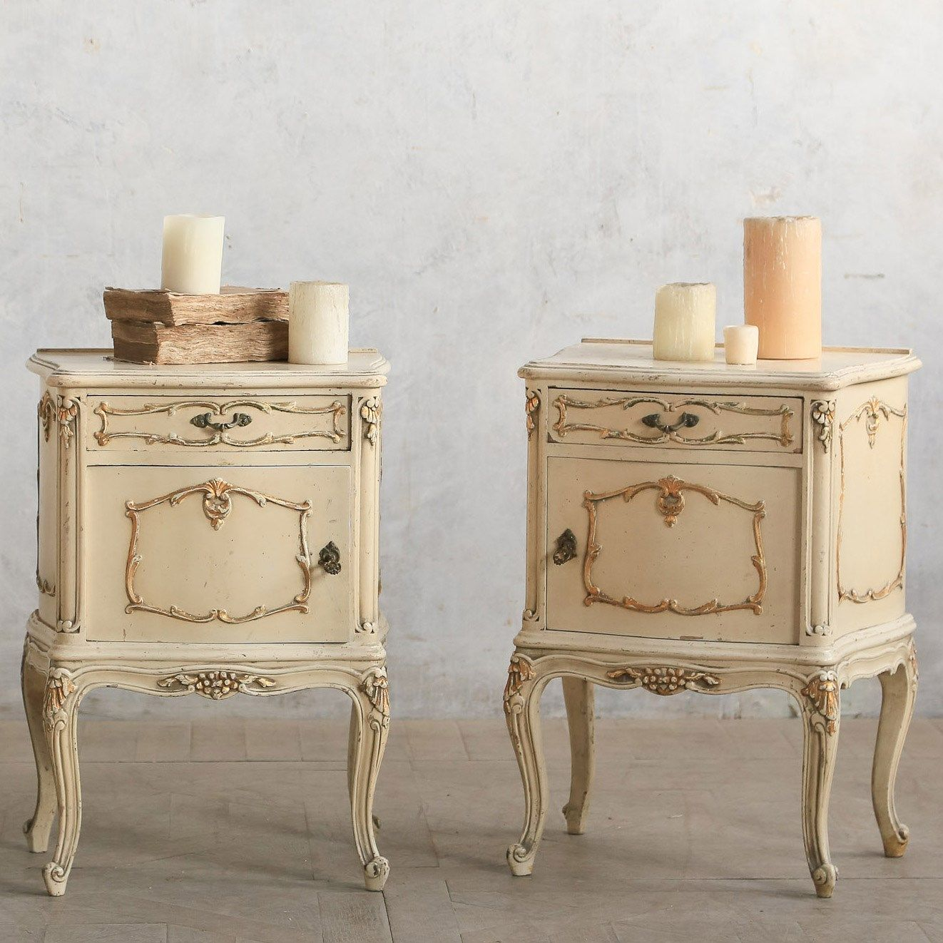 Paris Nightstand: Eloquence One Of A Kind Vintage Nightstand Faded Cream Set