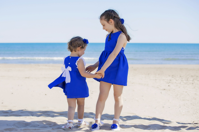 Luluna Moda Infantil Vestido azulón