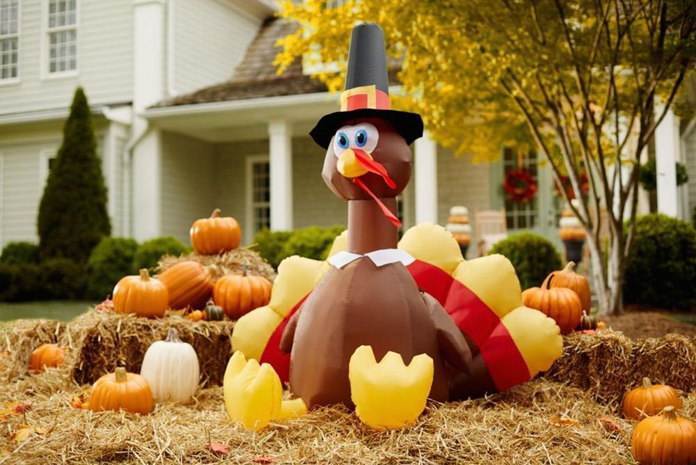 Inflatable Lighted Turkey Halloween Happy Thanksgiving Outdoor