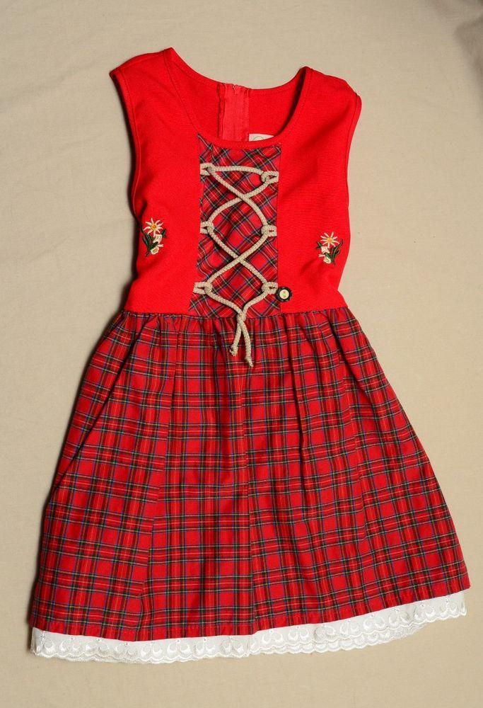 Details About German Girls Dirndl Dress Schrammel 98 104 Baumwolle