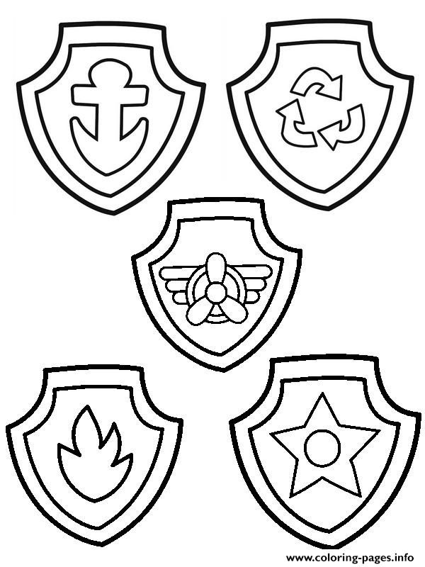 Paw Patrol Badge Coloring Pages Printable And Book To Print For Free Find More Online Kids Adults Of