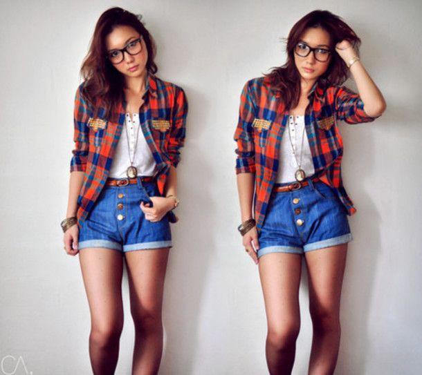 Shirt Shorts Classy Hipster Geeky Tumblr Girl Girly Tomboy I Follow Back