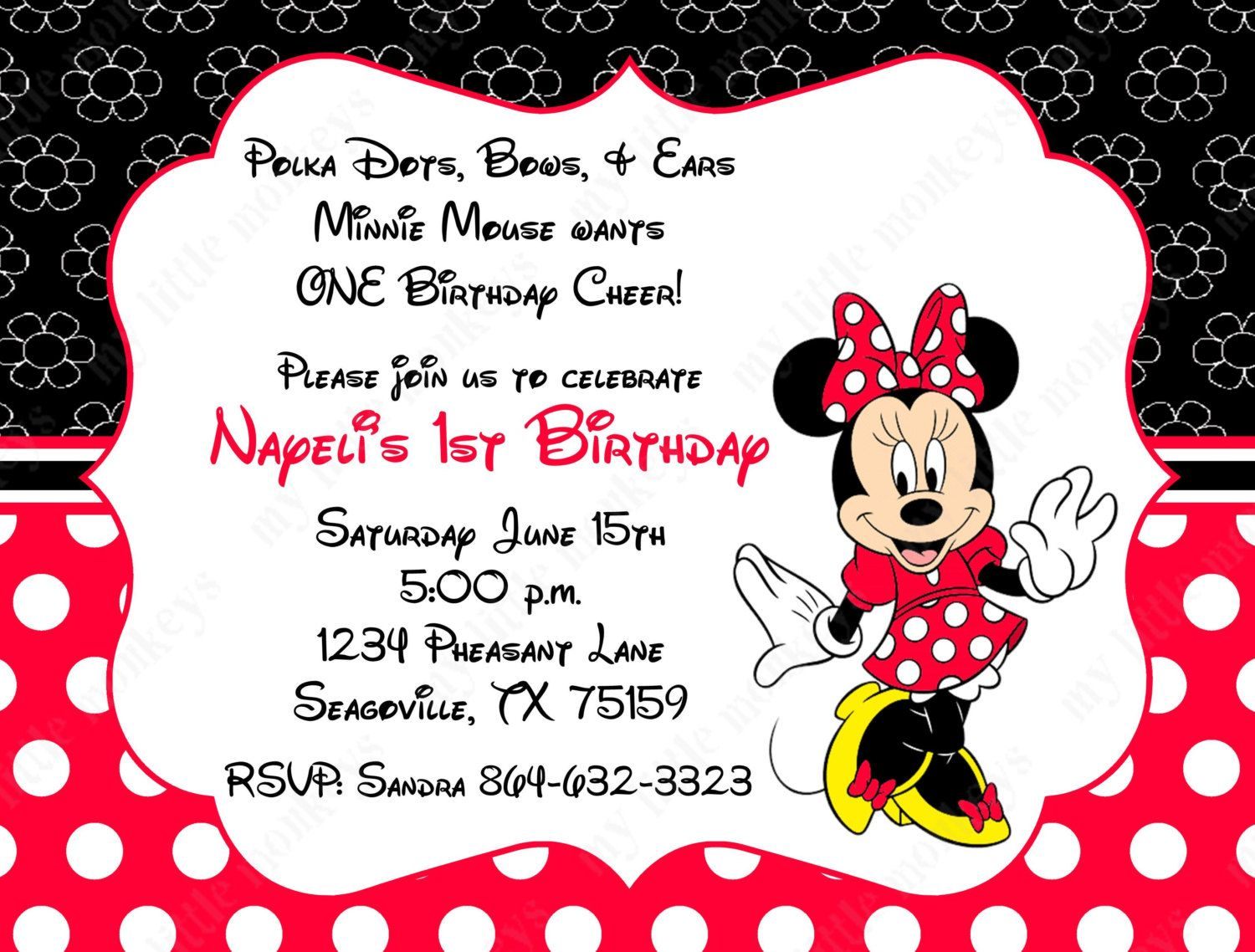 10 Black & Red Minnie Mouse PRINTED Invitations with Envelopes. Free ...