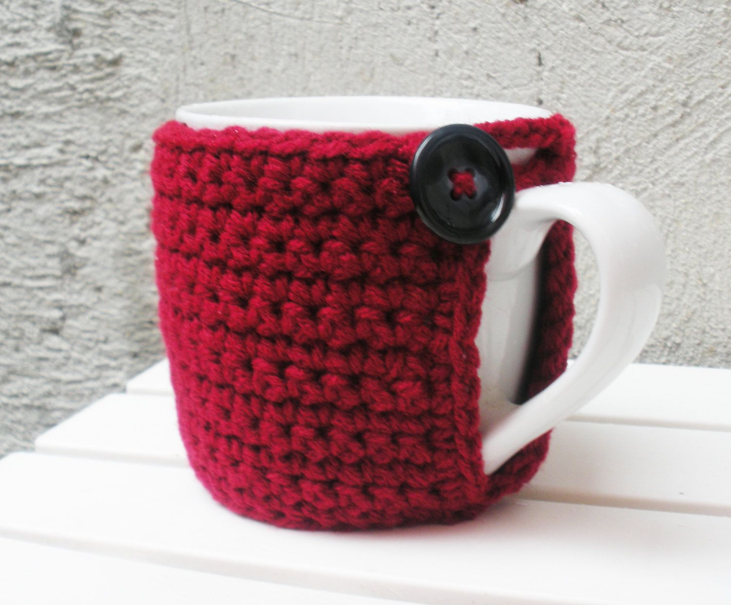 Red Coffee Mug Cozy With Built In Coaster Crochet By