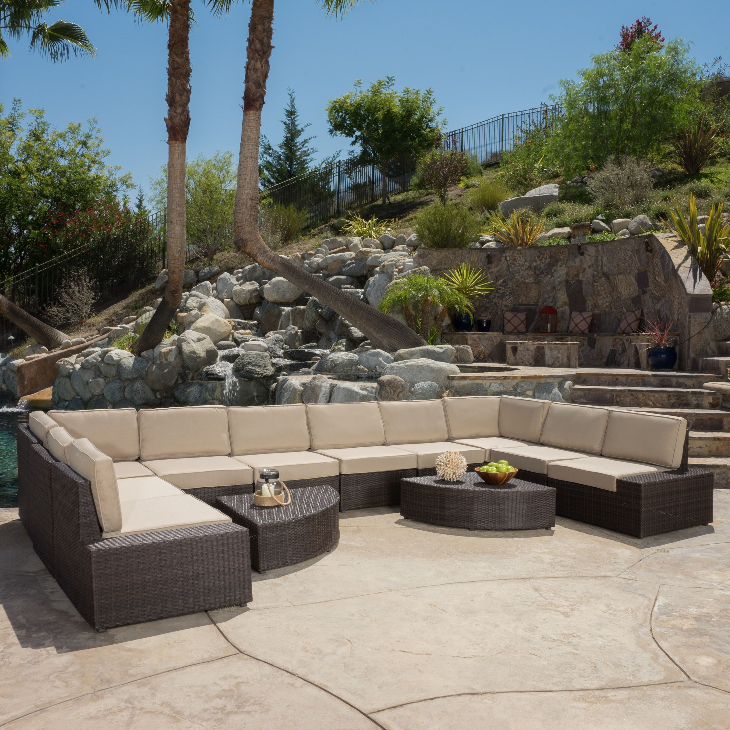 Christopher Knight Home Santa Cruz Outdoor Wicker Sectional Sofa Set With Cushions Patio Furniture