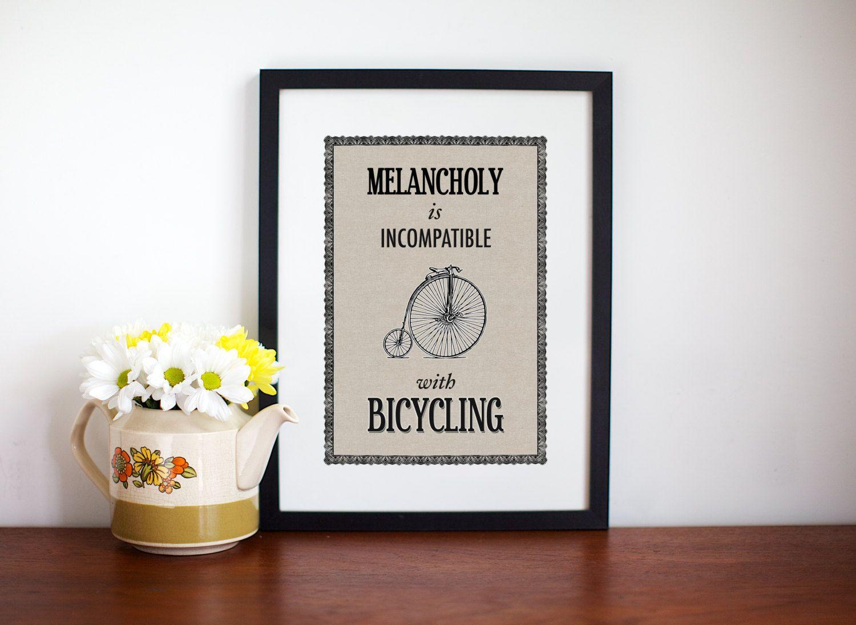 Bicycle Print Bicycle Poster Bicycle Wall Art Melancholy