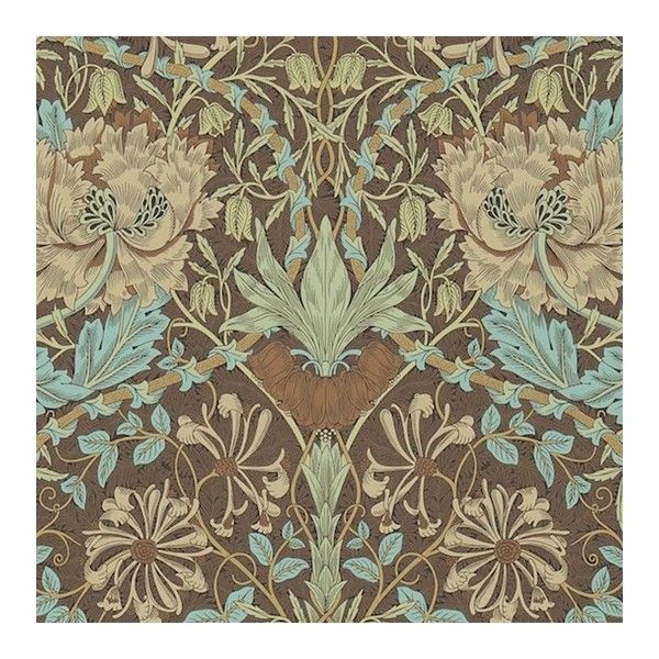 Honeysuckle and Tulip Wallpaper ($89) ❤ liked on Polyvore featuring home, home decor, wallpaper, pattern wallpaper, william morris wallpaper, aqua wallpaper, aqua home decor and blue green wallpaper