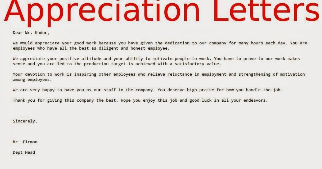Appreciation Letters Employees Samples Business Employee Letter