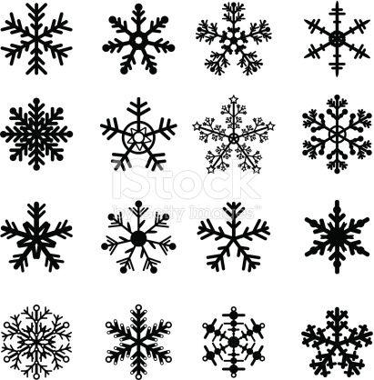 16 Black And White Snowflakes Set Easy To Edit Vector Snowflakes Drawing Simple Snowflake White Snowflake
