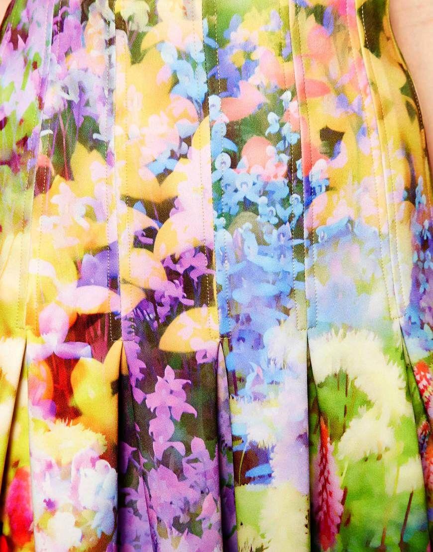 Midi Skirt in Floral Printed Scuba at ASOS