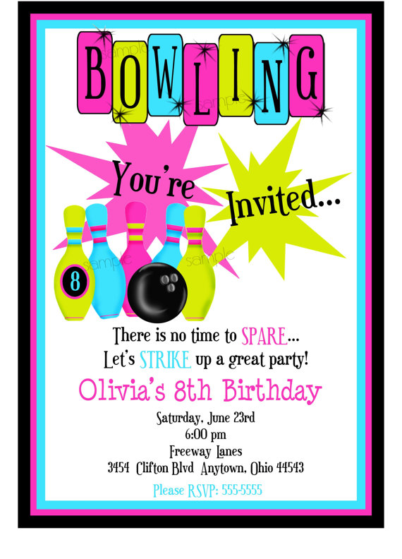Bowling Invitations Bowling Birthday Party Cosmic Bowling Invitations Birthday Party Children Girls