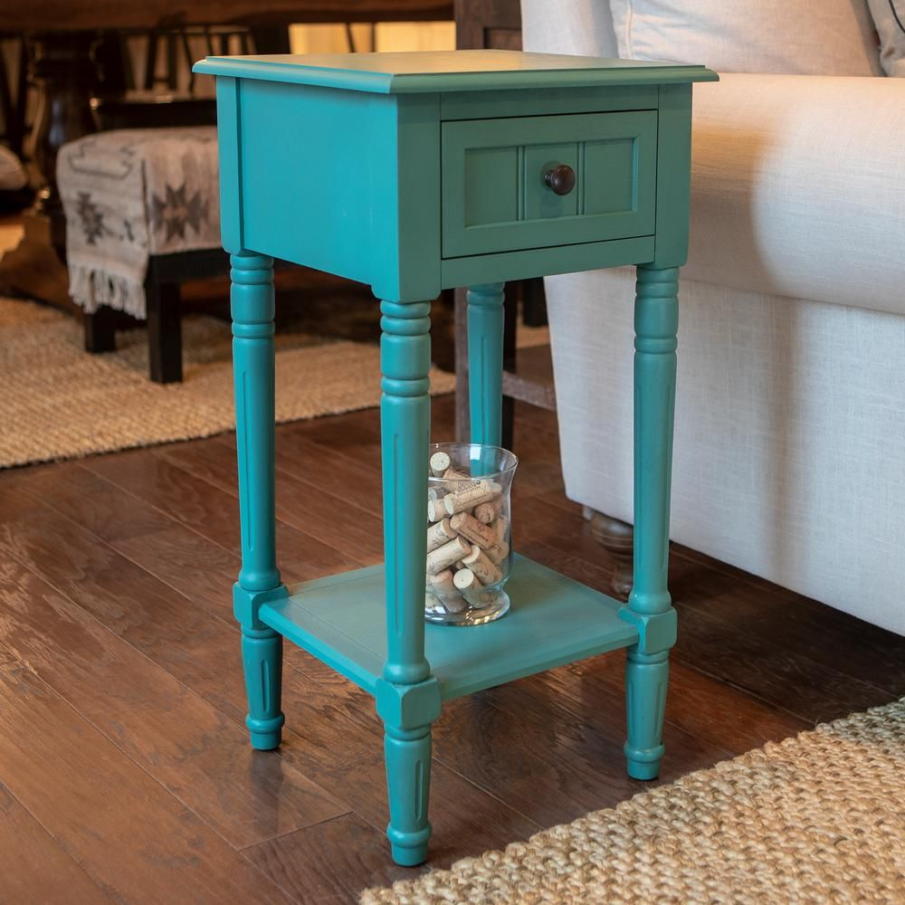 Decor Therapy Simplify Olive Branch Green 1 Drawer End Table