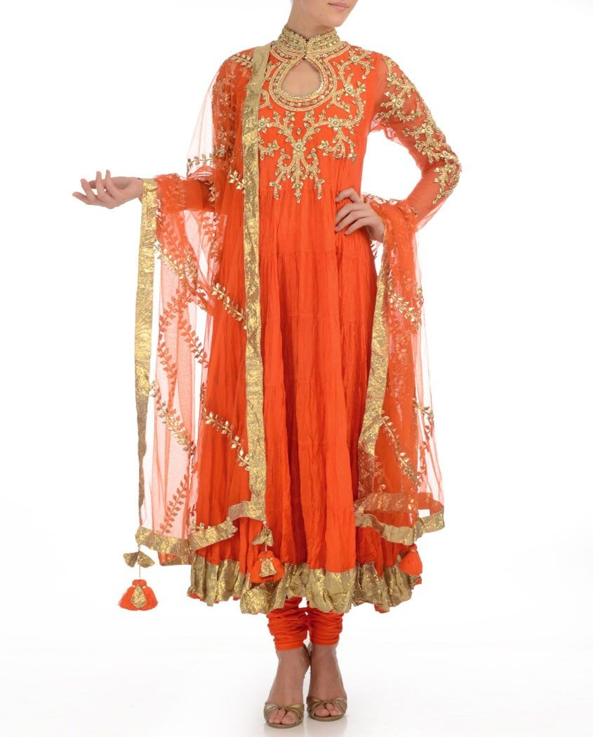 Bright Orange Anarkali Suit with Bejeweled Yoke   Exclusively.in