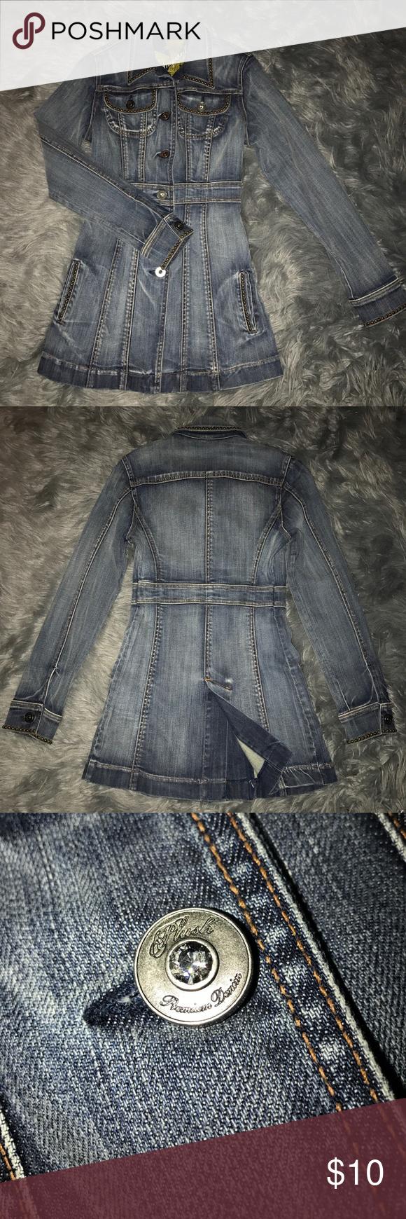 Long Button Up Denim Jacket Plush Premium Denim with pockets. Jackets & Coats Jean Jackets
