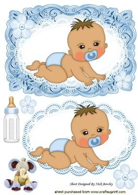 Crawling baby boy with his bottle card lace topper on Craftsuprint - Add To Basket!