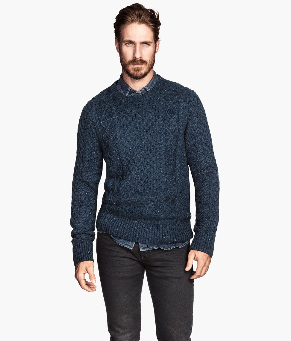 1e6f2299bf8477 Dark blue cable-knit cotton sweater with ribbed cuffs and hem.│ H&M Men
