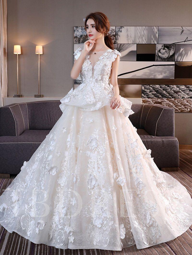 Appliques Flowers Lace Up Chapel Train Wedding Dress Wedding Dress Train Pregnant Wedding Dress Chapel Train Wedding Dress