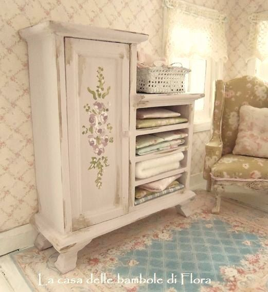 Shabby Chic Pink Cabinet - 1:12 dolls house dollhouse miniature