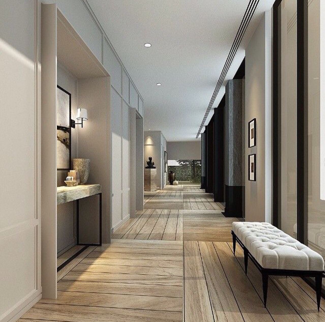Warm Contemporary Interiors: Neutral Hallway