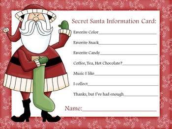 secret santa information sheet secret santa santa and free. Black Bedroom Furniture Sets. Home Design Ideas