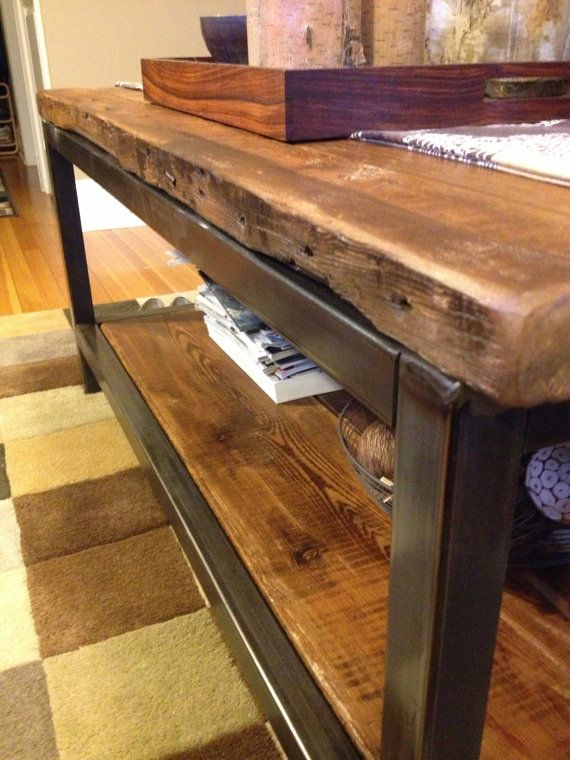 Reclaimed Wood And Metal Coffee Table Oversized By Wageoflabor
