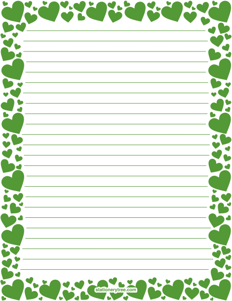 Printable green heart stationery and writing paper Multiple – Stationery Paper with Lines