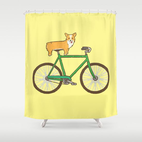 Corgi On A Bike Shower Curtain Curtains Corgi Shower