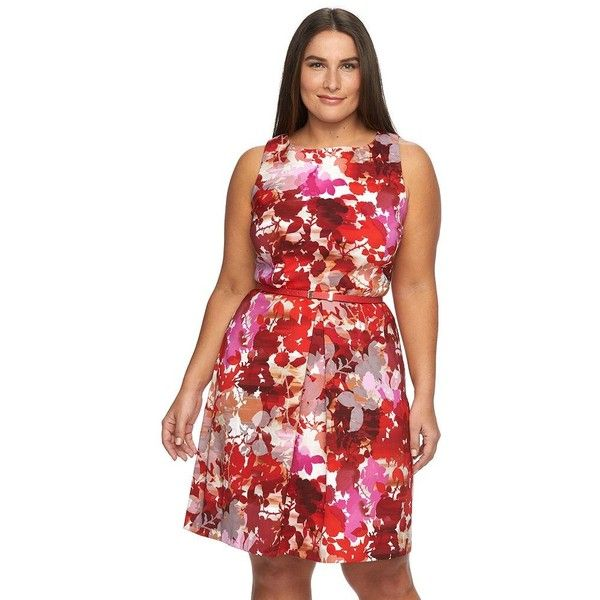 Plus Size Suite 7 Floral Belted Fit & Flare Dress ($60) via Polyvore  featuring