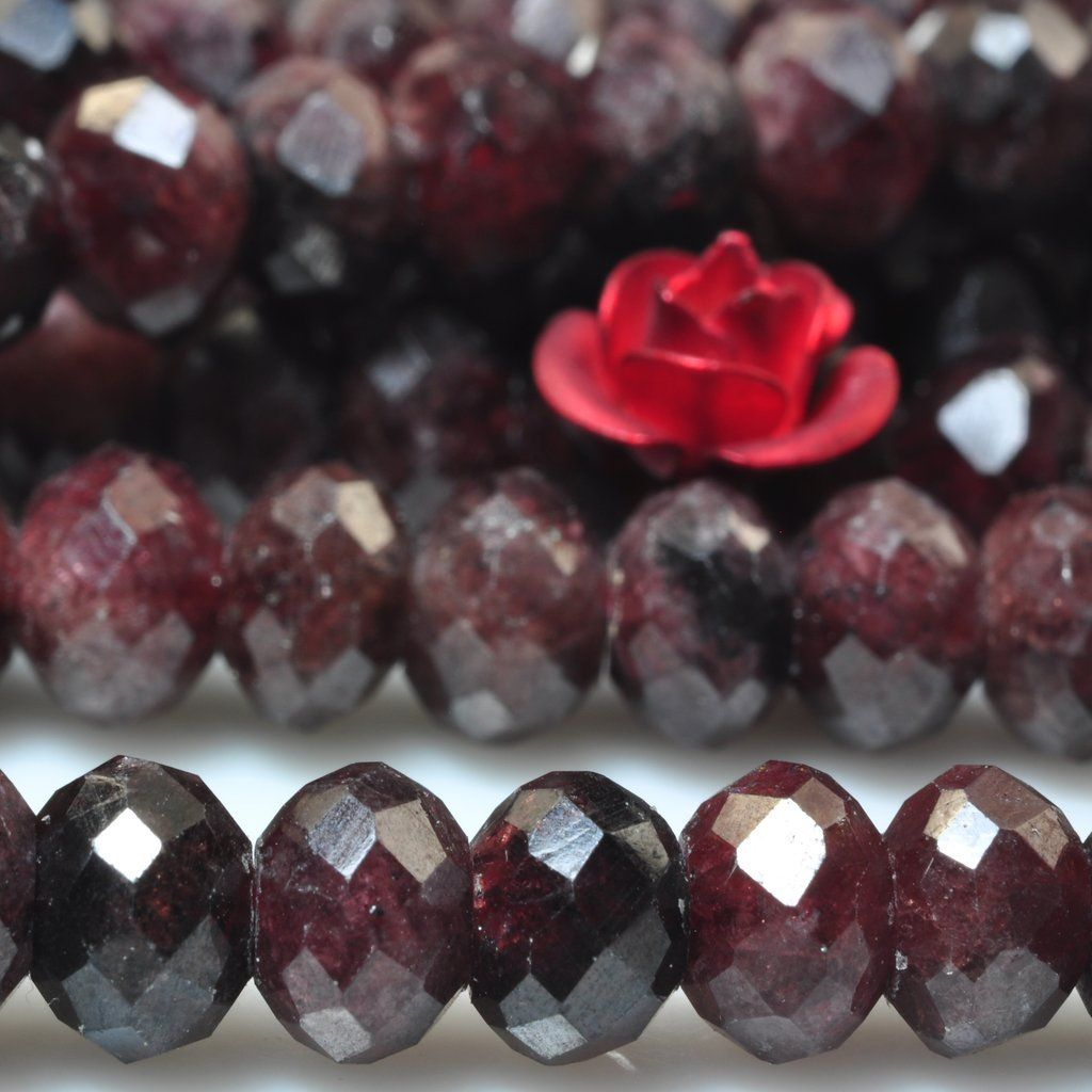 8mm Red GARNET RONDELLE Faceted Beads with silver hook Necklaces red garnet faceted rondelle red garnet beads faceted rondelle 6mm