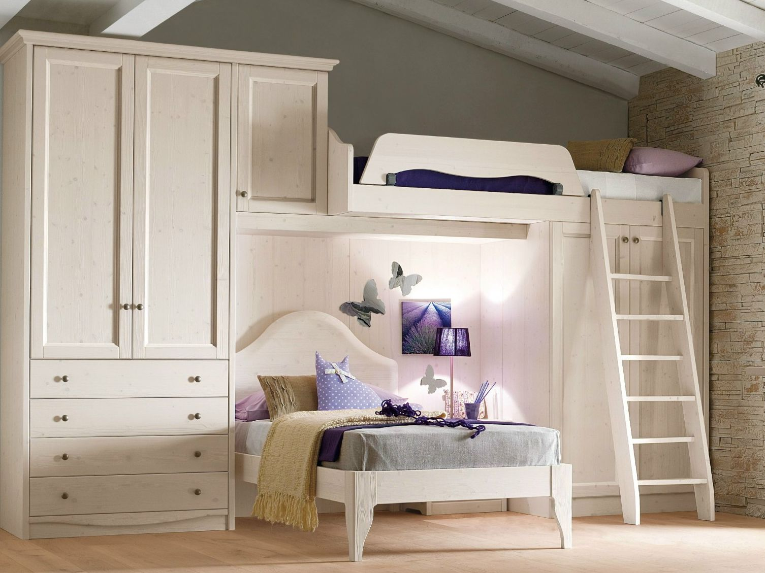 Loft Wooden Bedroom Set Every Day Night Composition 02 By