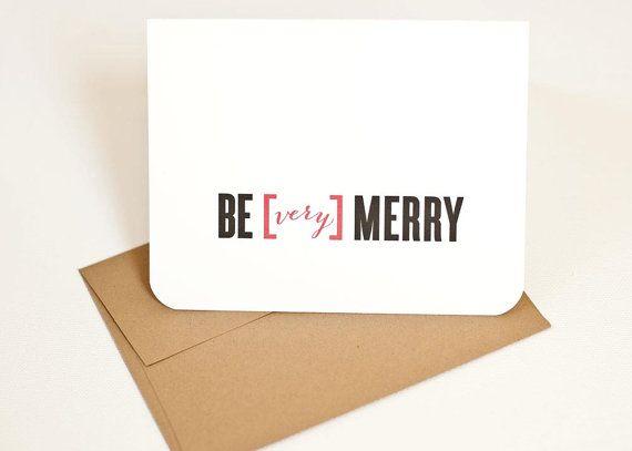 Holiday Card Typography Christmas Very Merry Via