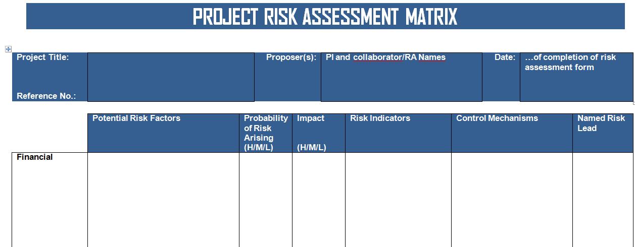 Project Risk Matrix Template Excel Project Management Templates