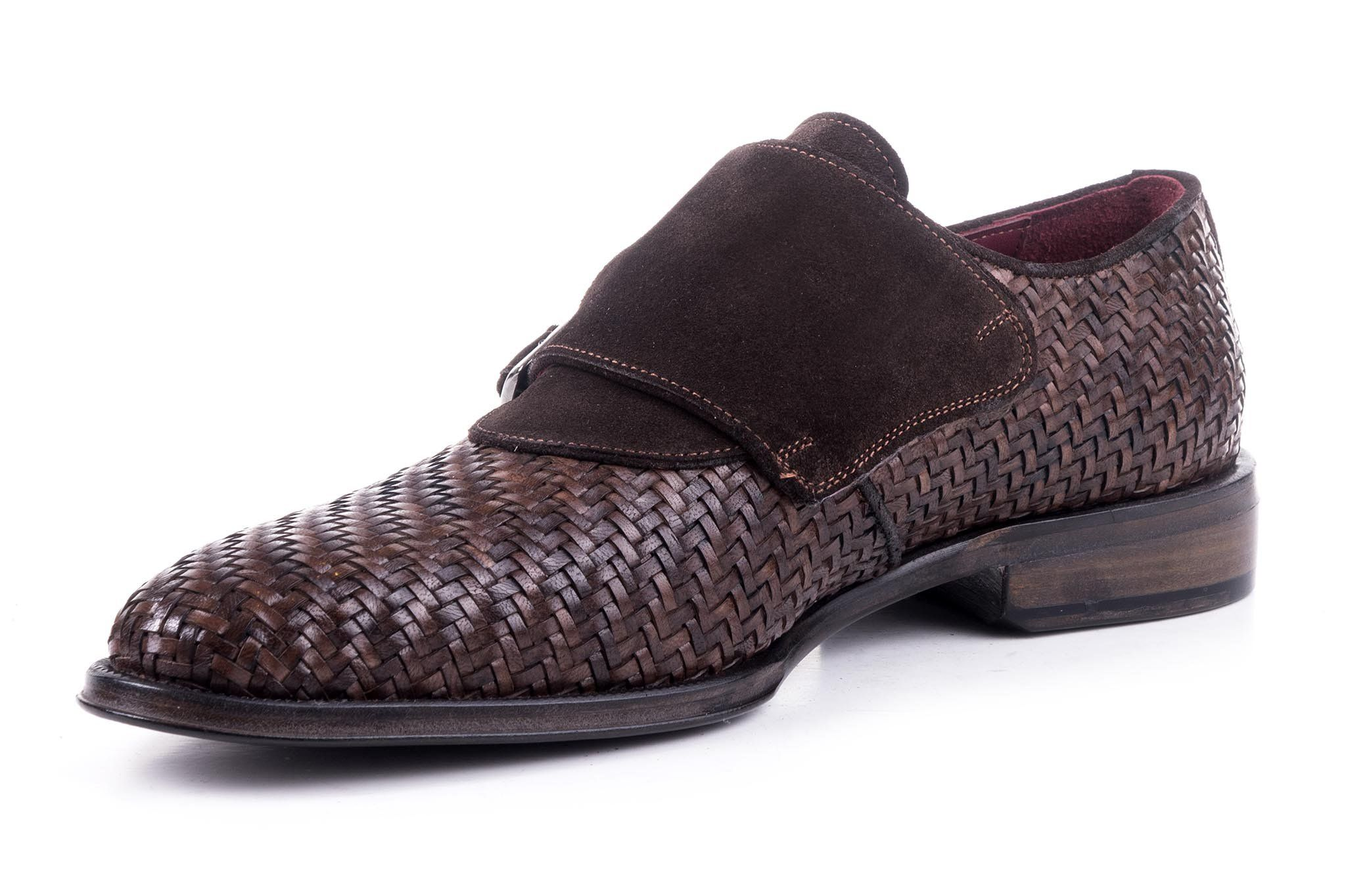 baf36597203 Maglieriapelle handcrafted Tatvan monkstrap in Brown Man Weave