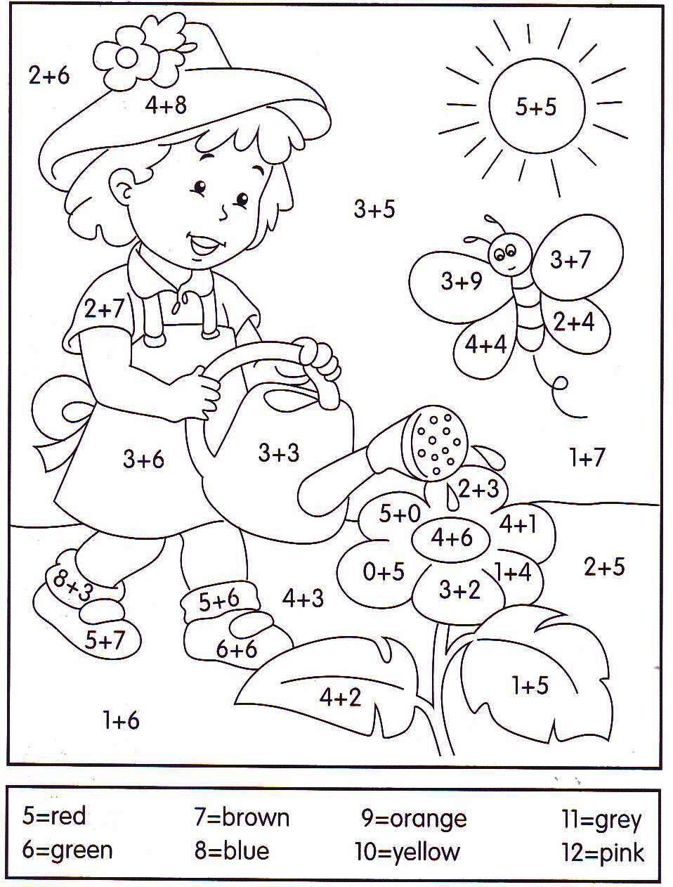 Muitas vezes Adição e cores em Inglês.   Atividades de 1º Ano - Matemática  QT24