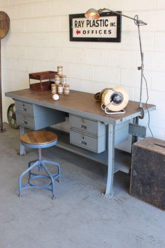 Vintage Industrial 6 Lyon Workbench Kitchen Island Desk Counter