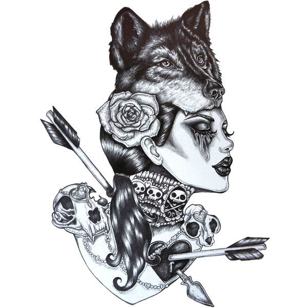 Lone Wolf  12 X 16 Inch Giclee Stretched Canvas Print Tattoo Art... ($95) ❤  Liked On Polyvore Featuring Home, Home Decor, Wall Art, Tattoos,  Backgrounds, ...