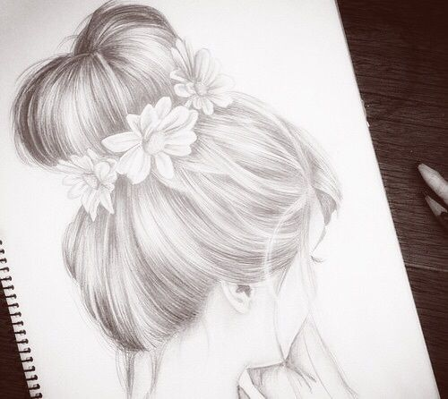 Art artistic black and white draw drawing girl girly for Girly drawings step by step