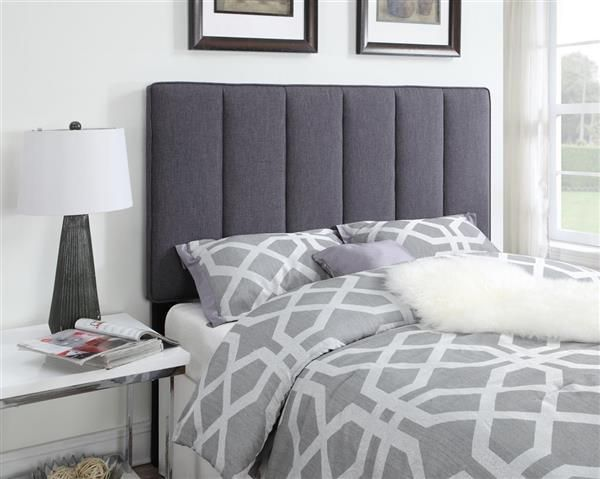 Hayden Grey Wood Fabric Full/Queen Upholstered Headboard-4/6-5/0