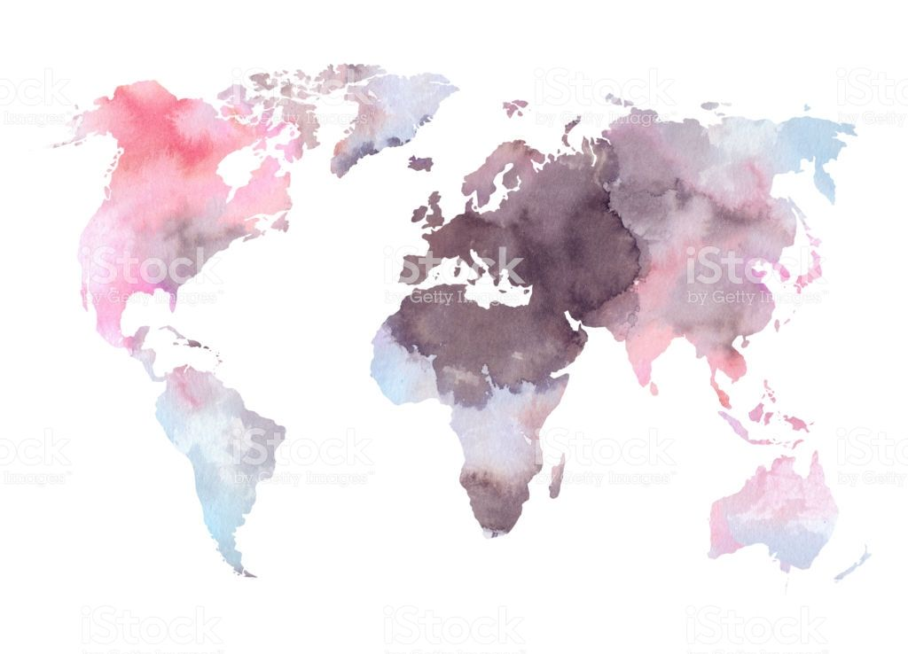 Watercolor Illustration Colorful World Map Watercolor Abstract