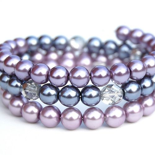 Lavender and Grey Pearl Memory Wire Bracelet | Flickr - Photo Sharing!