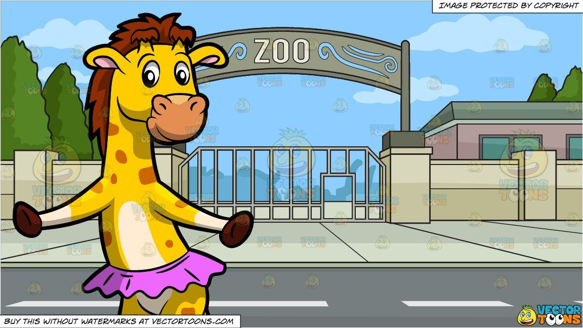 A Dancing Giraffe and Zoo Entrance Background (With images