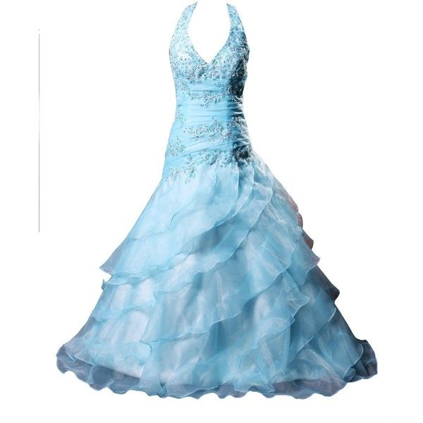 Winey Bridal Appliques Sky Blue Layered Chiffon Evening Dresses ($156) ❤ liked on Polyvore featuring dresses, gowns, cinderella, ruffle, sparkle, sky blue dress, blue chiffon dress, blue dress, brides dresses and sparkly dresses