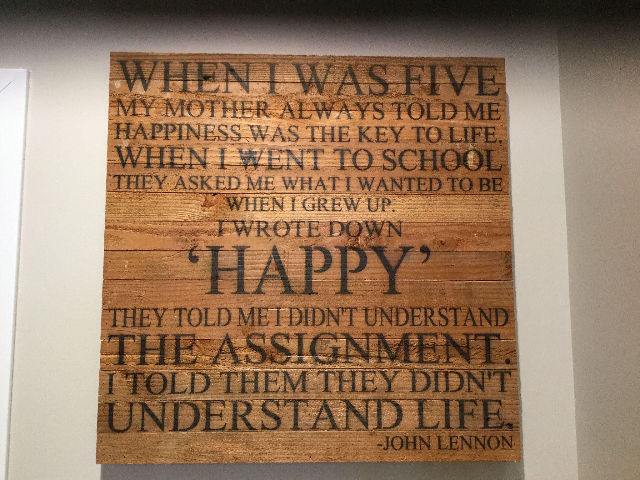 When I Was Five John Lennon Quote Reclaimed Wall Art 28 X