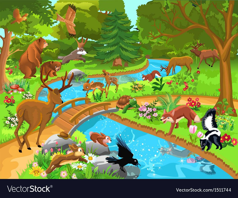 Cartoon Forest With Wild Animals Having An Active Life Download A Free Preview Or High Quality Adobe Illustrator A Forest Animals Cartoon Illustration Cartoon