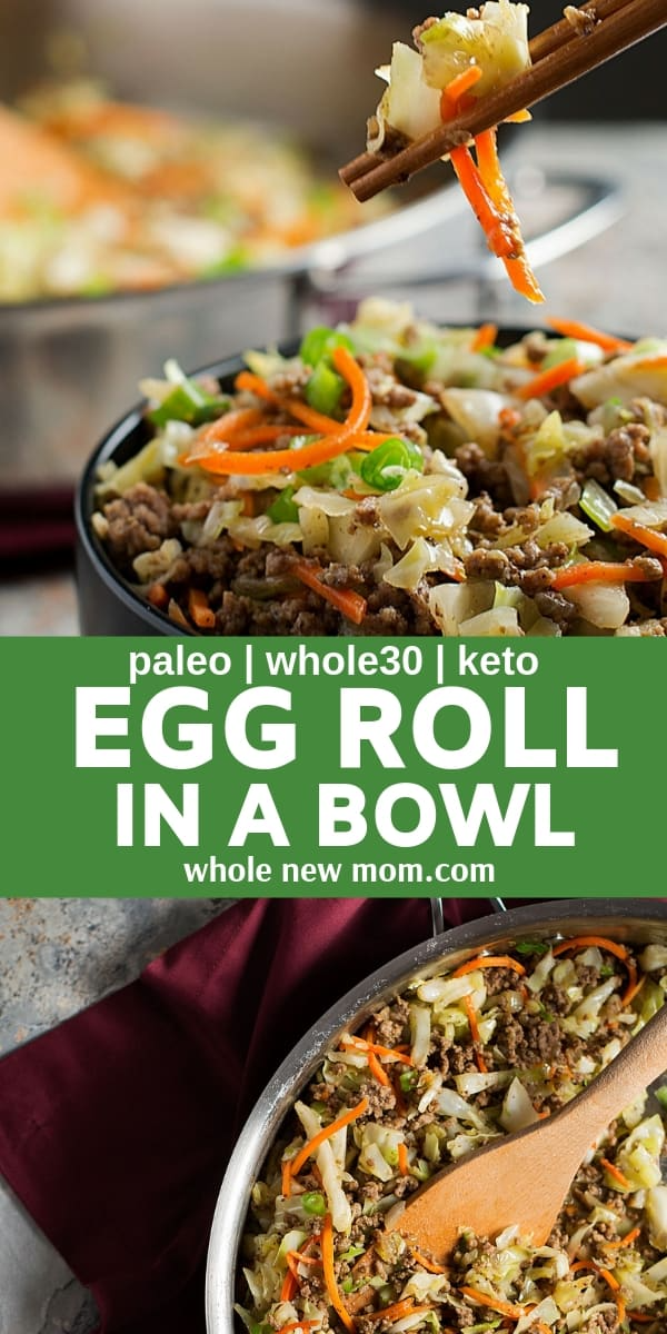 If you like egg rolls, you'll LOVE this keto egg roll in a bowl that's packed with flavor, but with no carbs. Made with ground beef (or chicken or pork), this eggroll recipe is low carb, gluten free, paleo, AIP, THM and keto: perfect for so many healthy lifestyles! #eggrolls #eggrollinabowl #lowcarb #healthydinner #glutenfree #keto #AIP #THM #whole30 #healthyrecipes #healthydinner