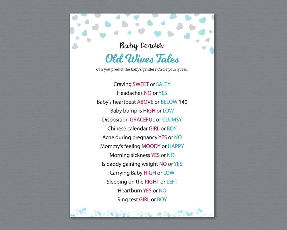 Old Wives Tales, Gender Reveal #Baby #Shower Game Printable, Hearts  Confetti, Gender Prediction, He or She, Boy or Girl, Blue or Pink, B008 # babyshower ...