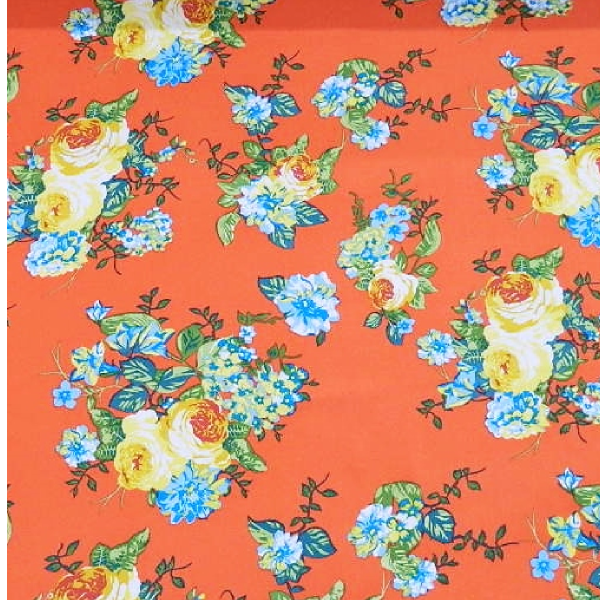 Deep Coral Shabby Chic Floral Print