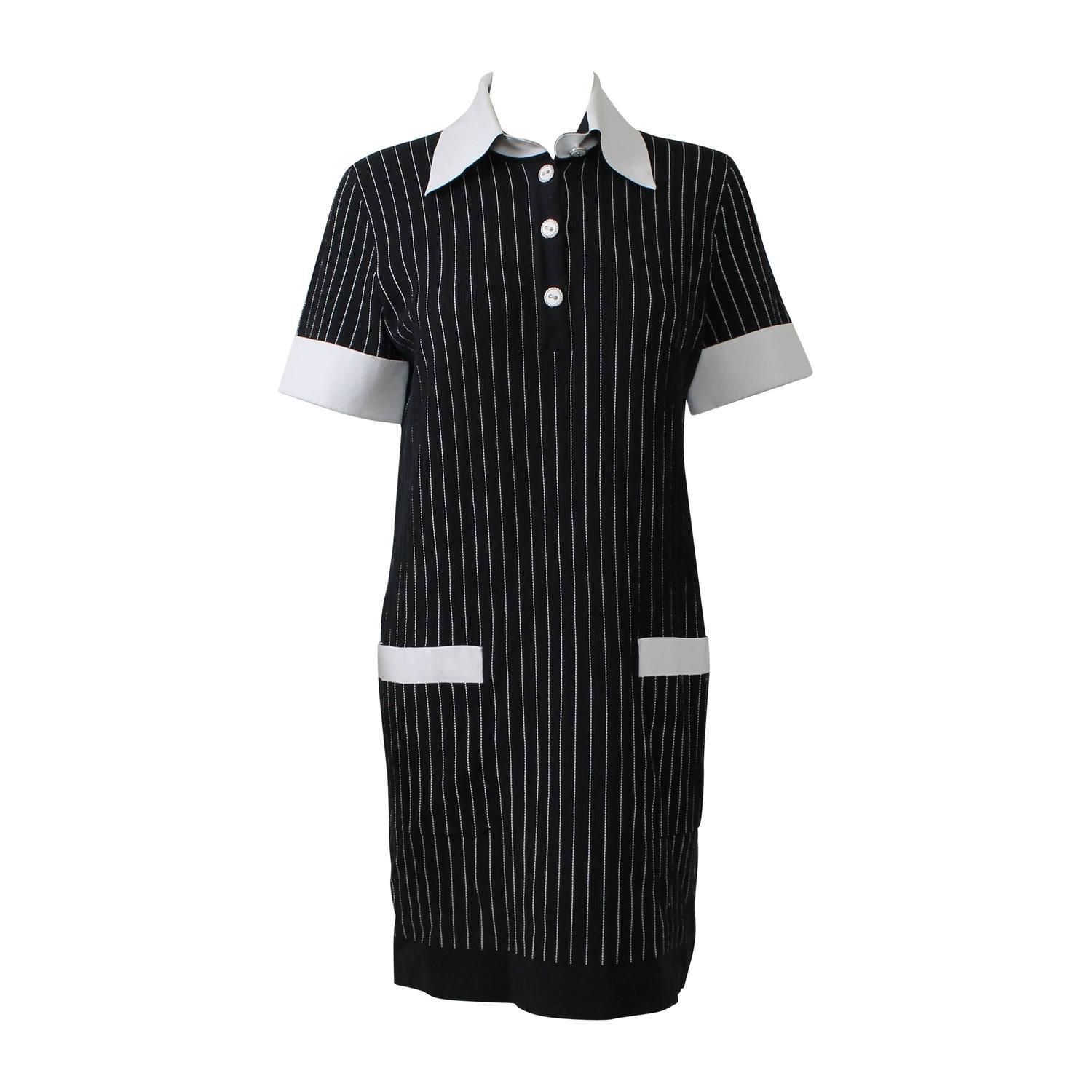 Chanel Black and White Pinstriped Cotton Nylon Collared Short Dress