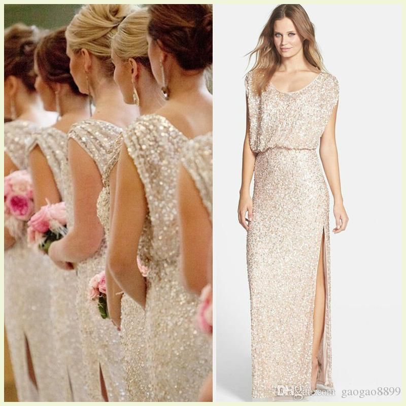 Cheap sequins rose gold long bridesmaid dresses plus size for Plus size champagne colored wedding dresses